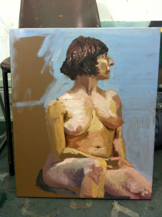 Female nude study1, direct painting. Oil on canvas 60x45
