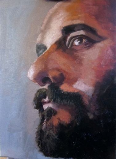 Self portrait. Oil on board 35x25 cm