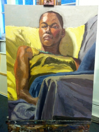 Female portrait. Oil on board 60x50