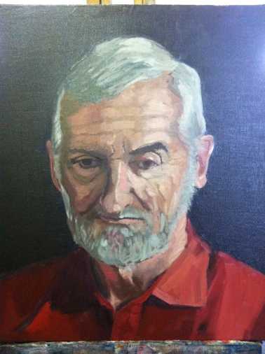 Male portrait study, direct painting. Oil on canvas 60x50