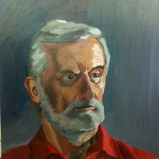 Male portrait study, direct painting. Oil on canvas 60x45