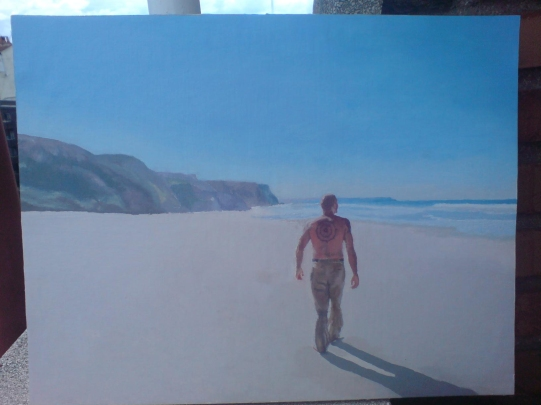 Juanpe looking for waves. Oil on board.