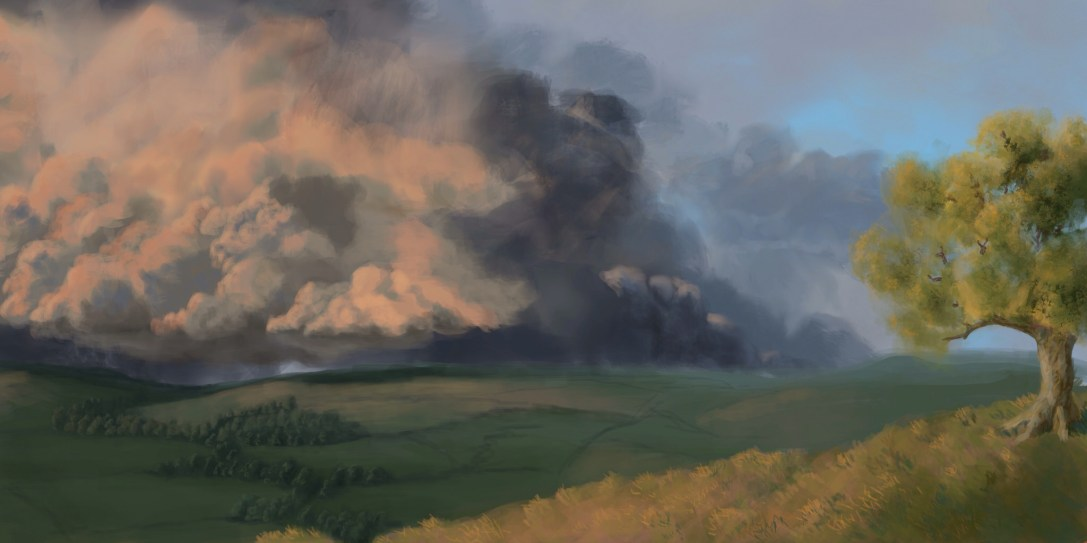 landscape sketch. Ipad painting