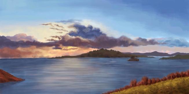 sunset skecth. Ipad painting