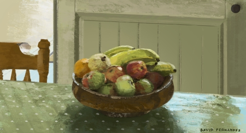 Fruit bowl. Still life photoshop painting.