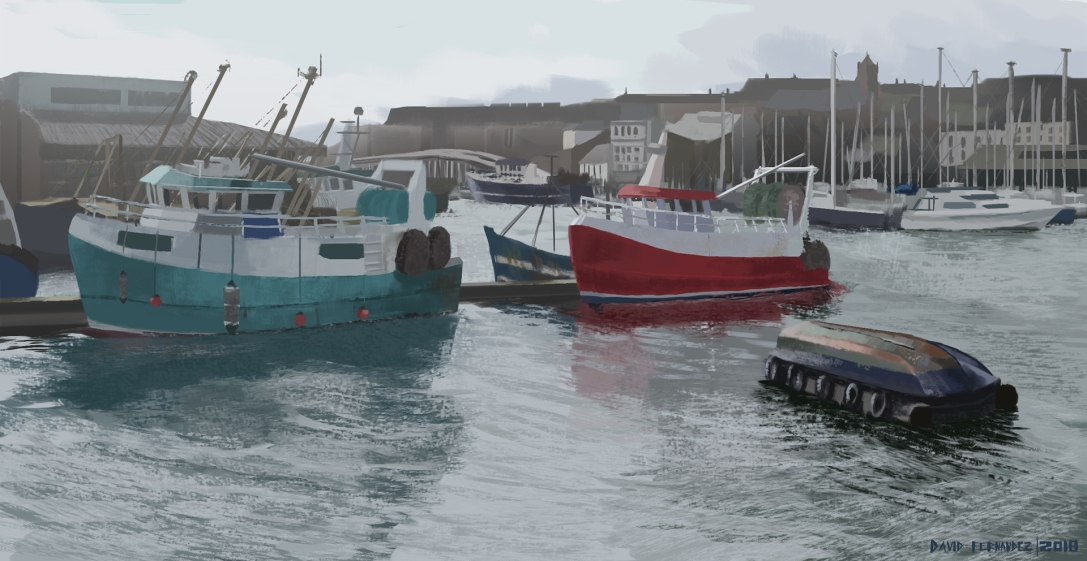 Fishing boats on Plymouth Port - Digital painting
