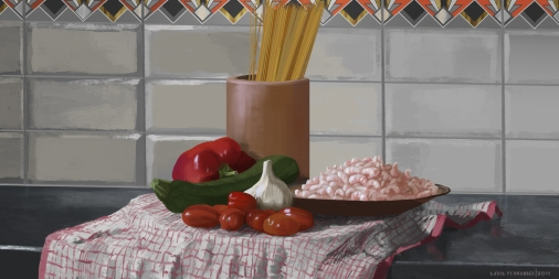 Spaghetti with Prawns, still life.